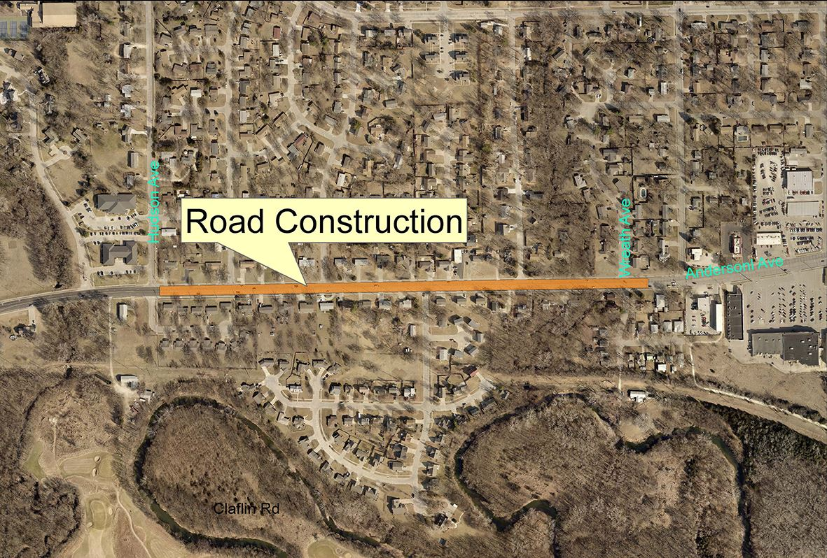 map of road repair planned for Anderson Avenue from Wreath to Hudson