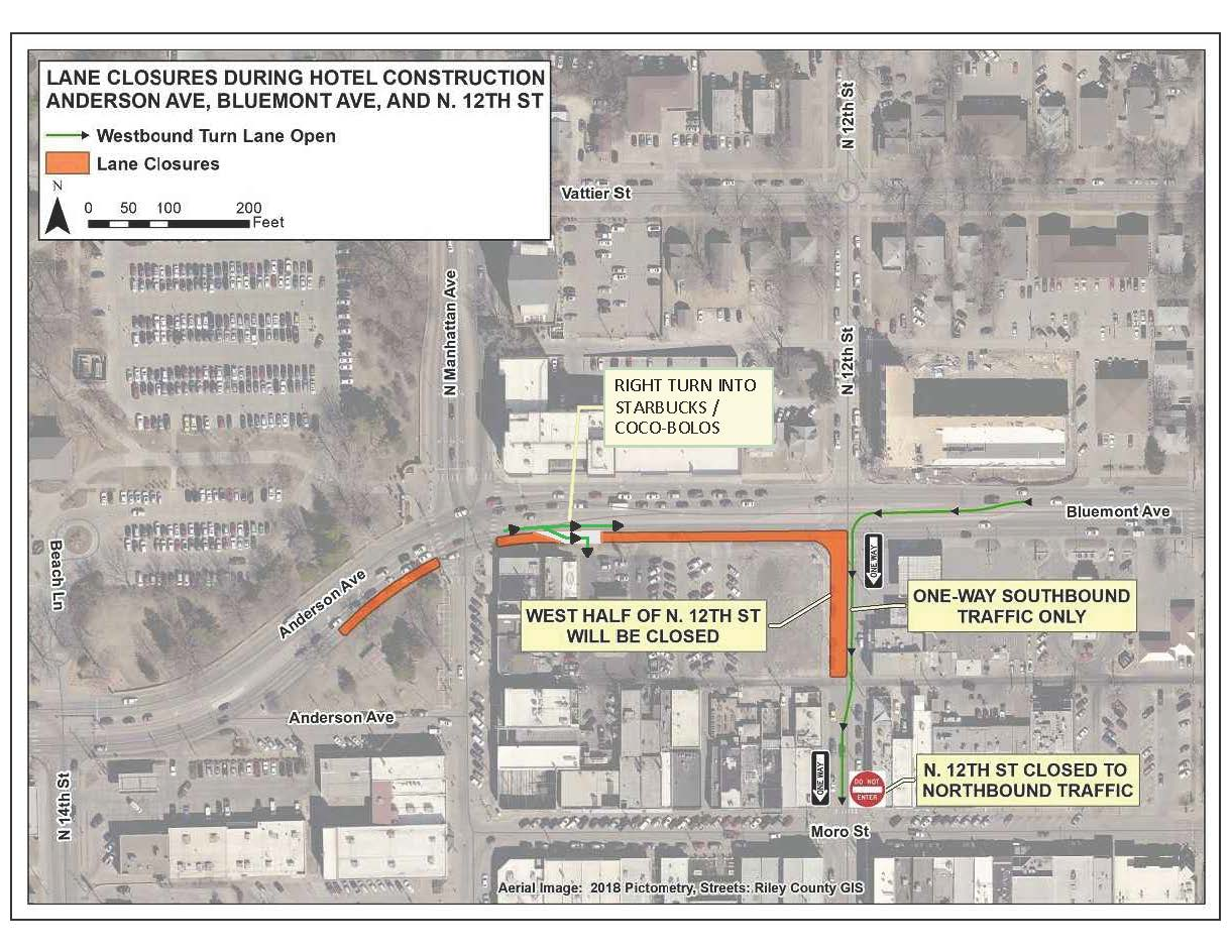 map of road closures at Bluemont Avenue and 12th Street