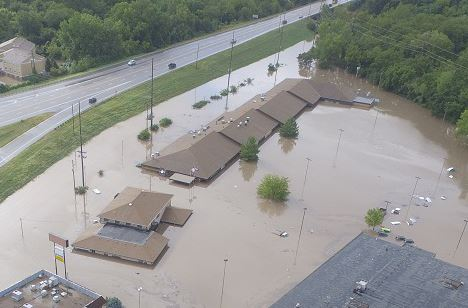 aerial photo of 3003 Anderson during 2018 Labor Day Flood