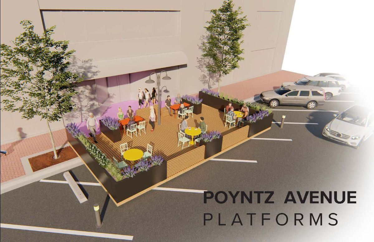 artist rendering of outdoor dining platforms